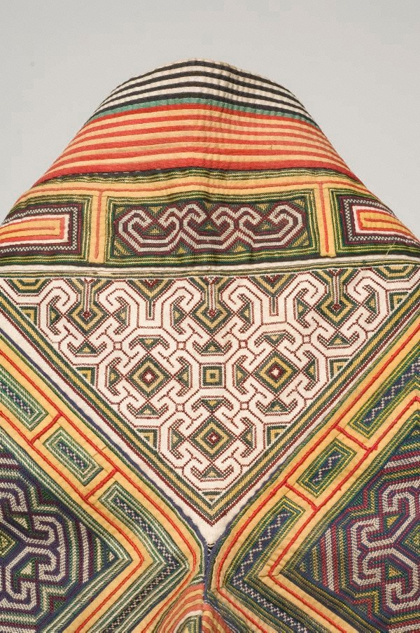 Yellow embroidered cape th century by miao people