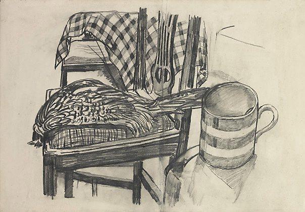John Bratby Drawings Pheasant by John Bratby