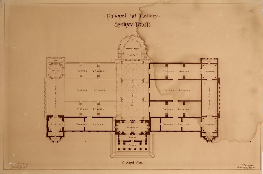 Architectural Floor Plan Of The National Art Gallery Of New South Wales Showing Completed Portions And Proposed Additional Galleries Central Court Board Room And Loggia 20 Aug 1909 By Walter Vernon