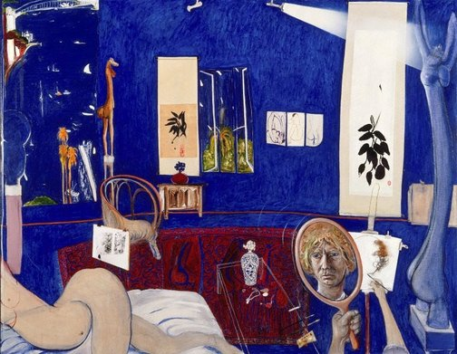 An image of Self portrait in the studio by Brett Whiteley