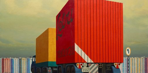 An image of Truck and trailer approaching a city by Jeffrey Smart