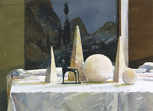An image of Still life with bronze horse by Earle Backen
