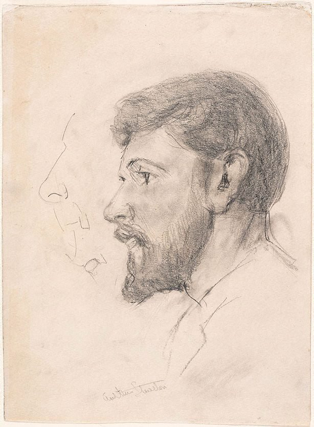 An image of recto: Arthur Streeton (Study for 'Smike Streeton age 24') verso: (study of a veiled woman)