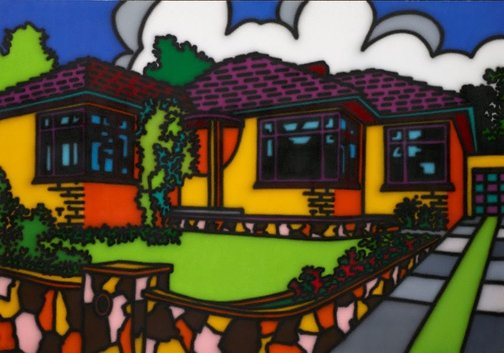 An image of Triple fronted by Howard Arkley