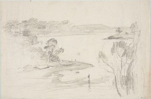 An image of recto: Study for 'Spring sunshine' verso: Harbour with houses by Lloyd Rees
