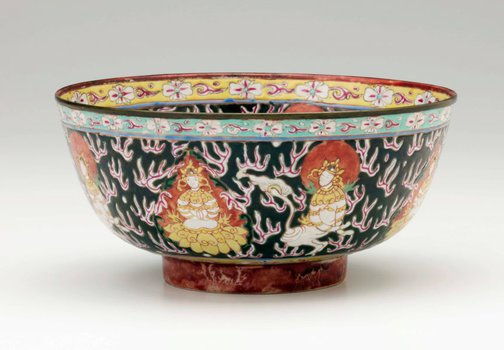 An image of Bowl decorated with Buddhist figures by Bencharong ware