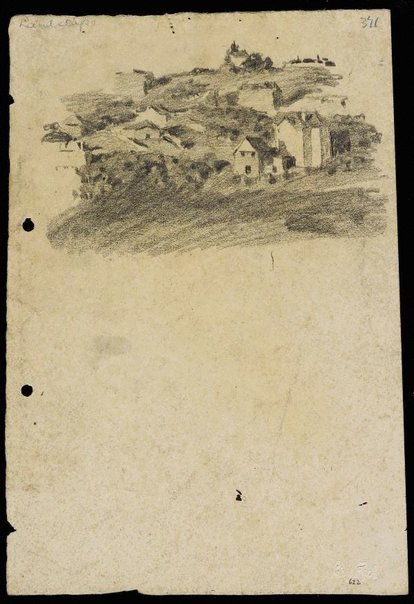 An image of recto: Landscape with houses from Woollahra I verso: portraits by Lloyd Rees