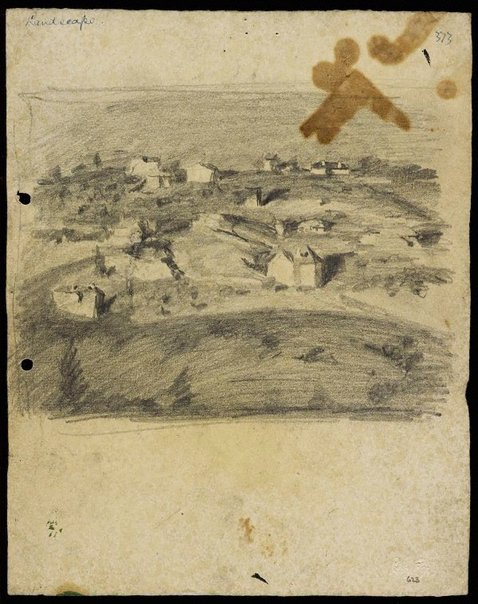 An image of recto: Landscape with houses from Woollahra II verso: Vase [upside down] by Lloyd Rees
