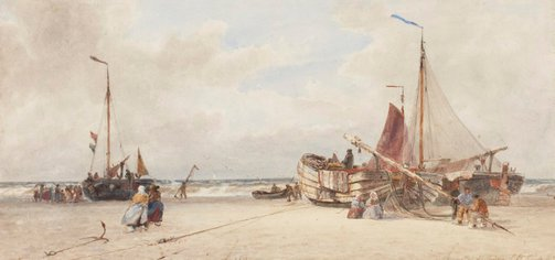 An image of Repairing a pink, Scheviningen Beach by Thomas Bush Hardy
