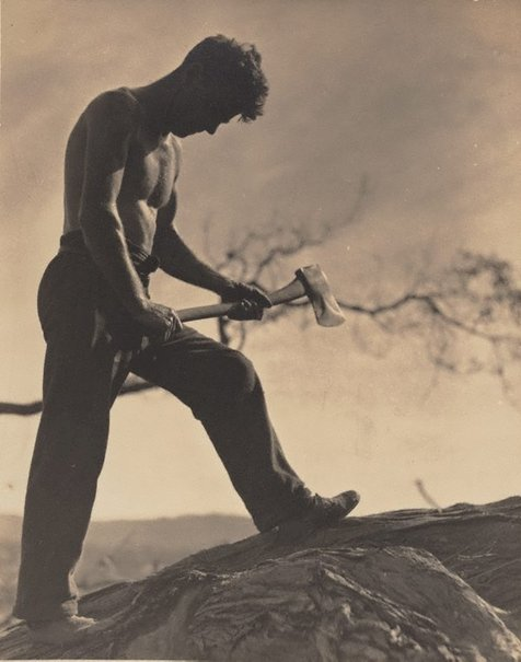 An image of Untitled (Man with axe) by Keast Burke