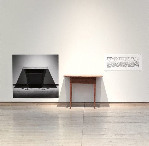 An image of One and three tables by Joseph Kosuth