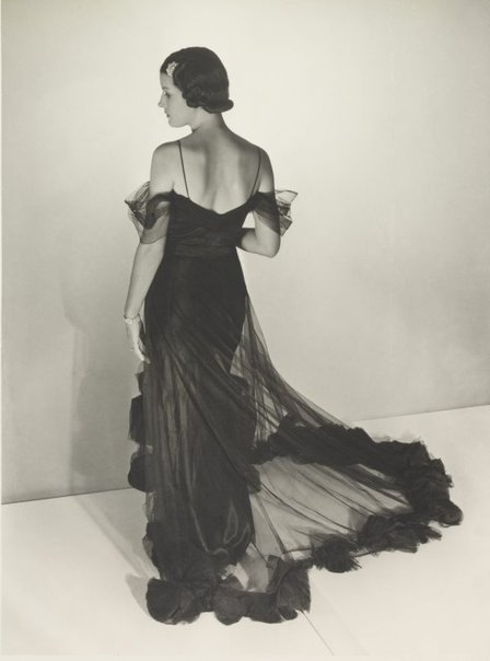 An image of Untitled (fashion illustration: model in a sheer gown) by Max Dupain