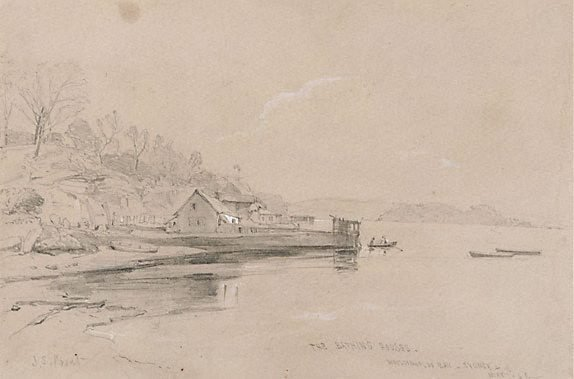 An image of The bathing houses, Woolloomooloo Bay