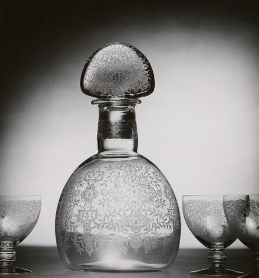 An image of Untitled (cut-glass decanter and glasses) by Max Dupain