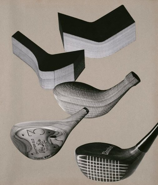 An image of Untitled (photo-montage of golf clubs and moulded wood pieces) by Max Dupain