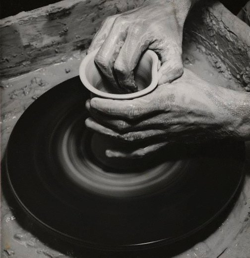 An image of Untitled (potter's hands at wheel) by Max Dupain