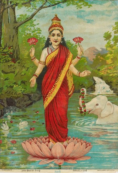 An image of Lakshmi by Ravi Varma Fine Art Lithographic Press
