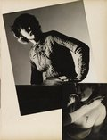 An image of recto top: Untitled (woman seated with ruched sweater and ties) recto bottom: Untitled (woman with cigarette and 'ME' on white sweater) verso: Untitled (dining room with portrait of boy with crossed arms) by Max Dupain