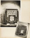 Alternate image of recto: Untitled (sea photo-montage) verso top: Untitled (large AWA radio with drawings on wallpaper behind) verso bottom: Untitled (small AWA radio with marble surface) by Max Dupain