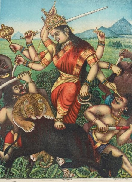 An image of Durga killing the buffalo demon by Chitrashala Press