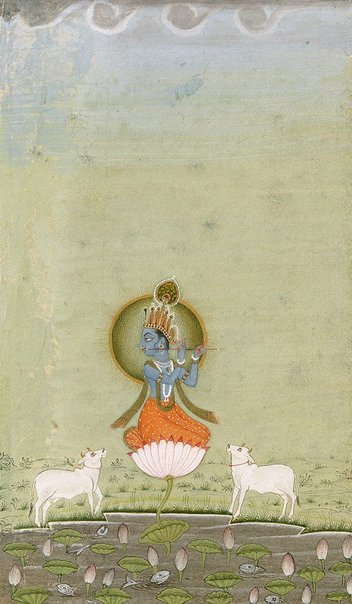 An image of Krishna as the divine cowherd (buff border) by