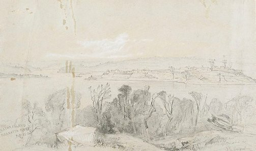 An image of Cockatoo Island, Parramatta River by John Skinner Prout