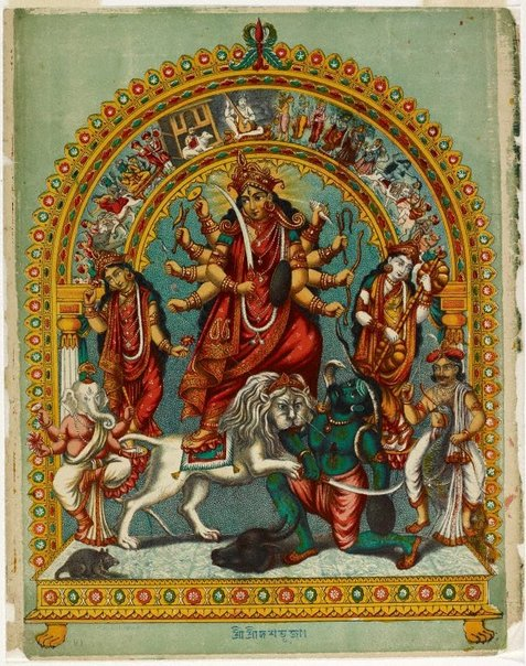 An image of Durga slaying the buffalo demon Mahishasura by The Calcutta Art Studio