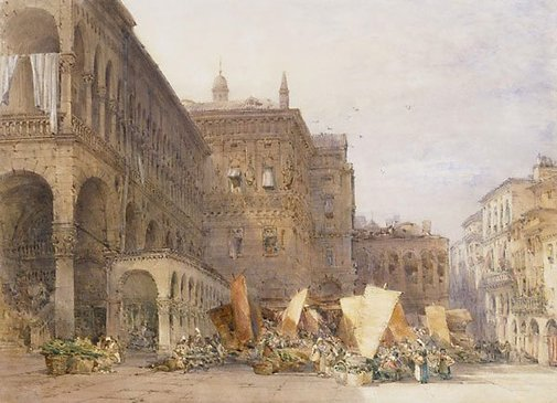 An image of Market Place, Padua by William Callow