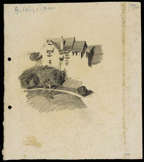 An image of Large house with trees by Lloyd Rees