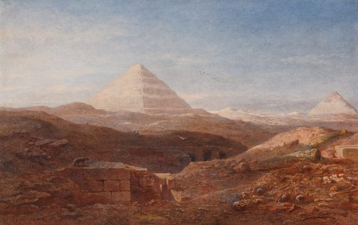 An image of Near the pyramid, Sakkara by Edward Angelo Goodall