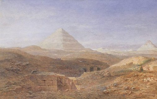 An image of Near the pyramid, Sakhara by Edward Alfred Goodall