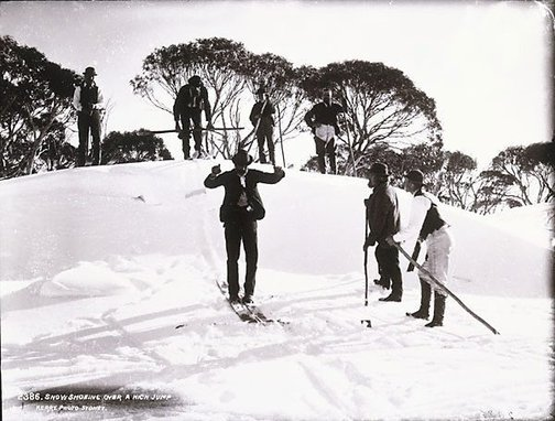 An image of Snow shoeing over a high jump by Unknown, Kerry & Co