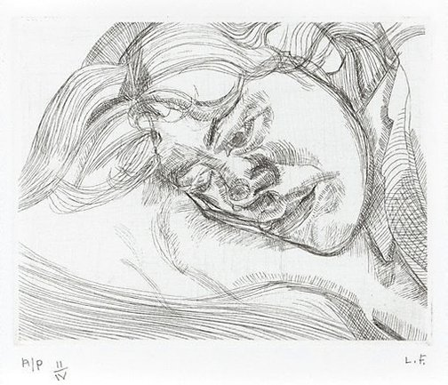 An image of Head on a pillow by Lucian Freud