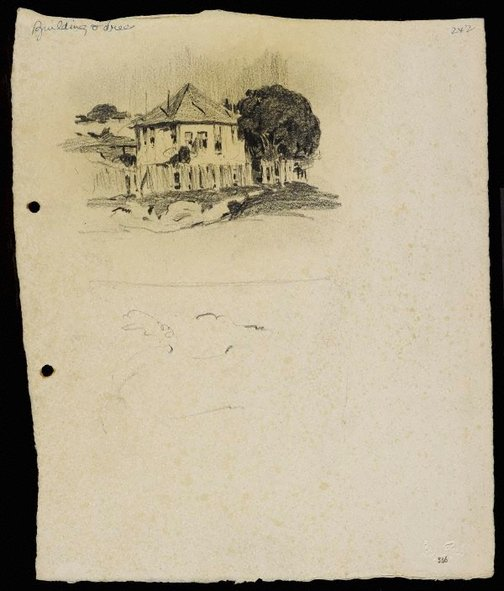 An image of House with tree and fence by Lloyd Rees