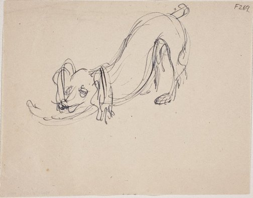 An image of (Dog stretching) (Late Sydney Period) by William Dobell