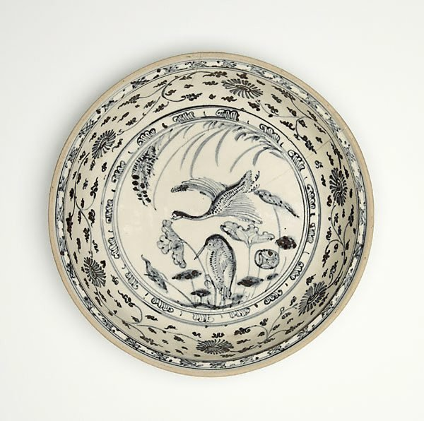 An image of Dish with design of two waterbirds