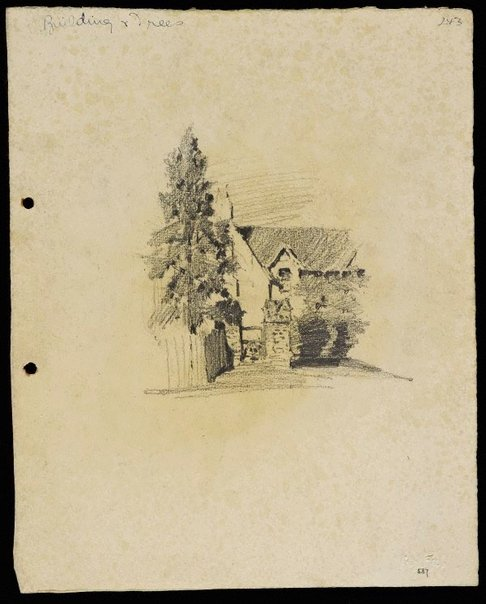 An image of recto: House with gabled roof - Roslyndale, Woollahra verso: Chimneys and tree (twice) [upside down] by Lloyd Rees
