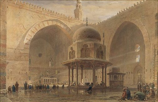 An image of Interior of mosque of Sultan Hassan, Cairo by Edward Alfred Goodall