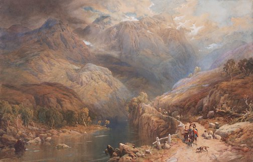 An image of Eagle Crag and Gate Crag, Borrowdale, Cumberland by Thomas Miles Richardson Jnr