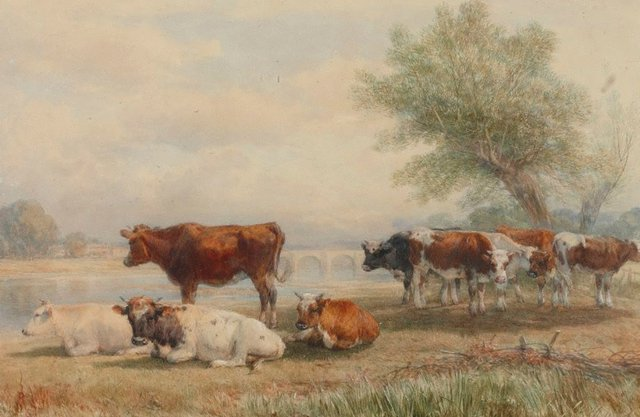 An image of Cattle piece, a scene on the Wye