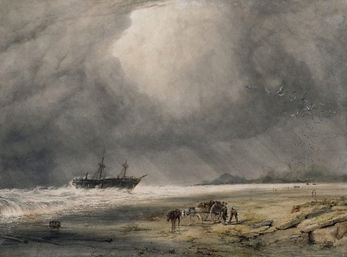 An image of Stranded - Morning after the wreck by Copley Fielding