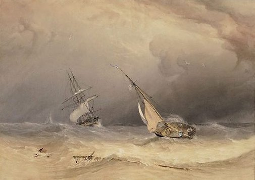 An image of Off the Eddystone: effect of storm by Copley Fielding