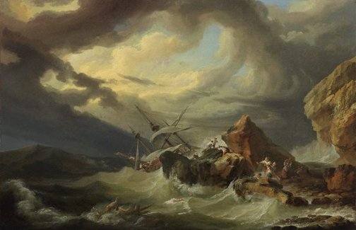 An image of A shipwreck off a rocky coast by Philippe Jacques de Loutherbourg