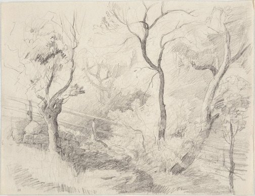 An image of Study of trees and fence, Northwood Point by Lloyd Rees