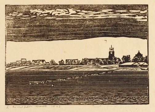 An image of Corio: distant view of Geelong Grammar School, across the bay by Ludwig Hirschfeld-Mack