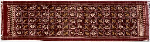 An image of Ceremonial cloth with elephant and tiger design by