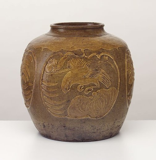 An image of Martaban jar with four medallions by