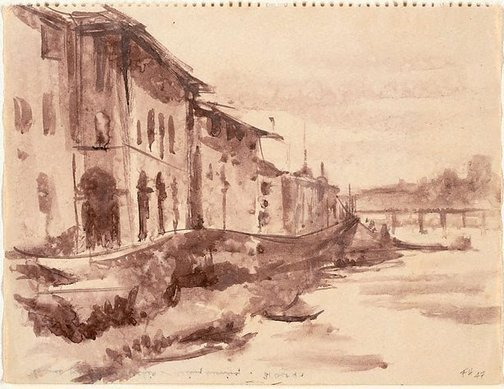 An image of Florence from Ponte Vecchio - rainy evening by Frank Hodgkinson