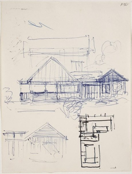An image of (House facade and house plans) (Late Sydney Period) by William Dobell