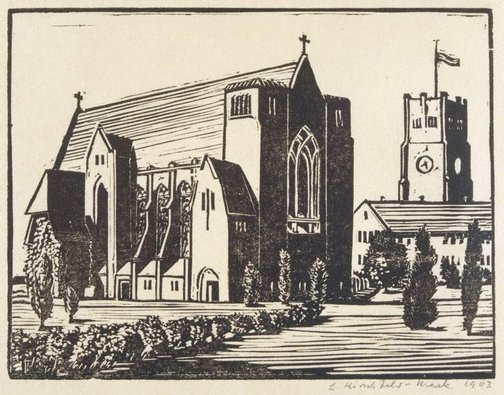 An image of Geelong Grammar School Chapel, from the rear by Ludwig Hirschfeld-Mack
